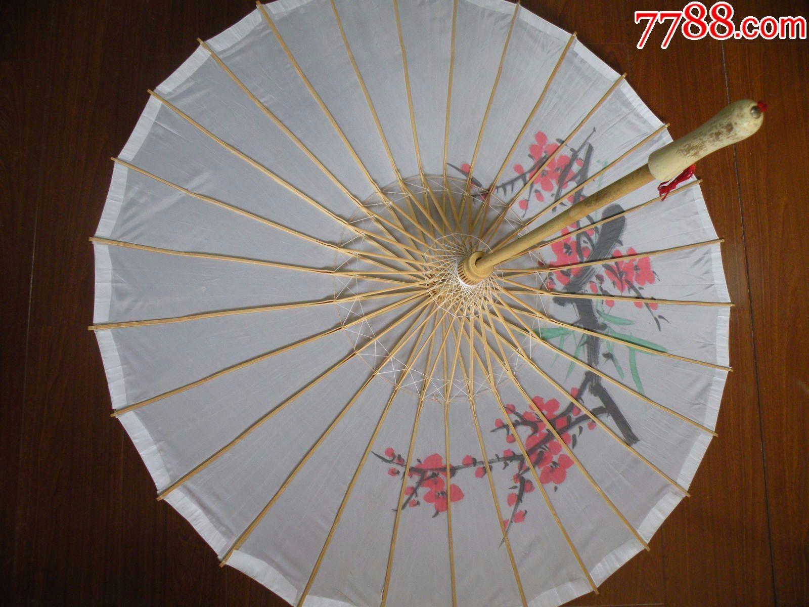 80年代手工制作的绢布伞竹子骨架