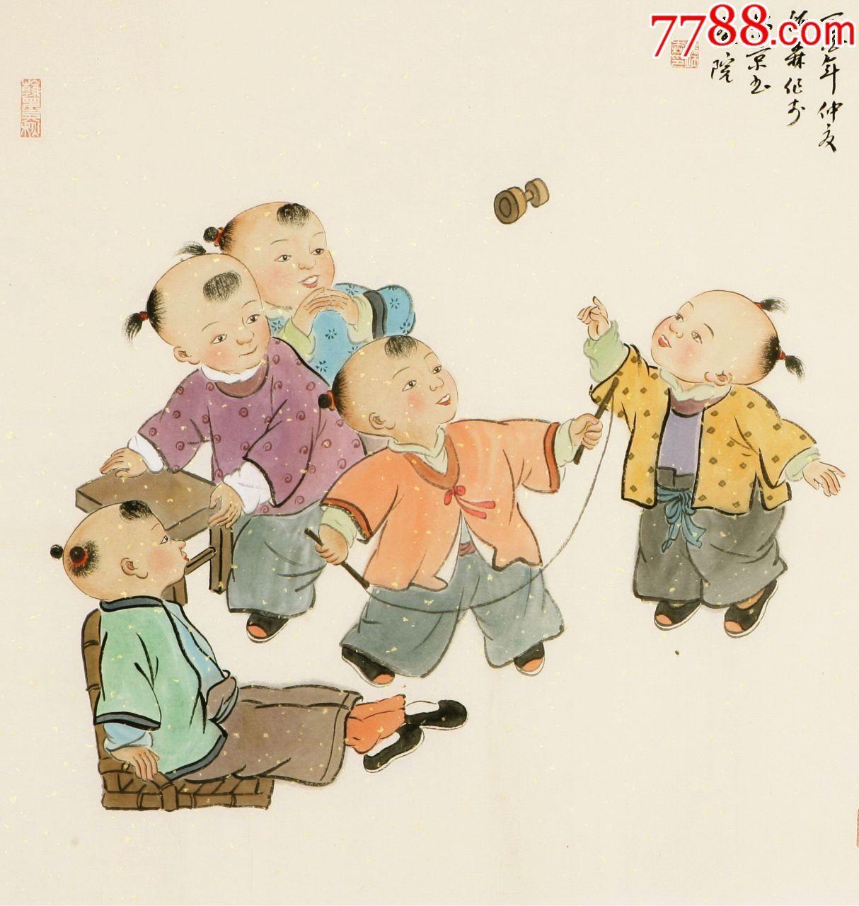 """中国书协会员""""杨炳森""""四尺斗方工笔人物画精品福童福娃《童趣图》真迹图片"""