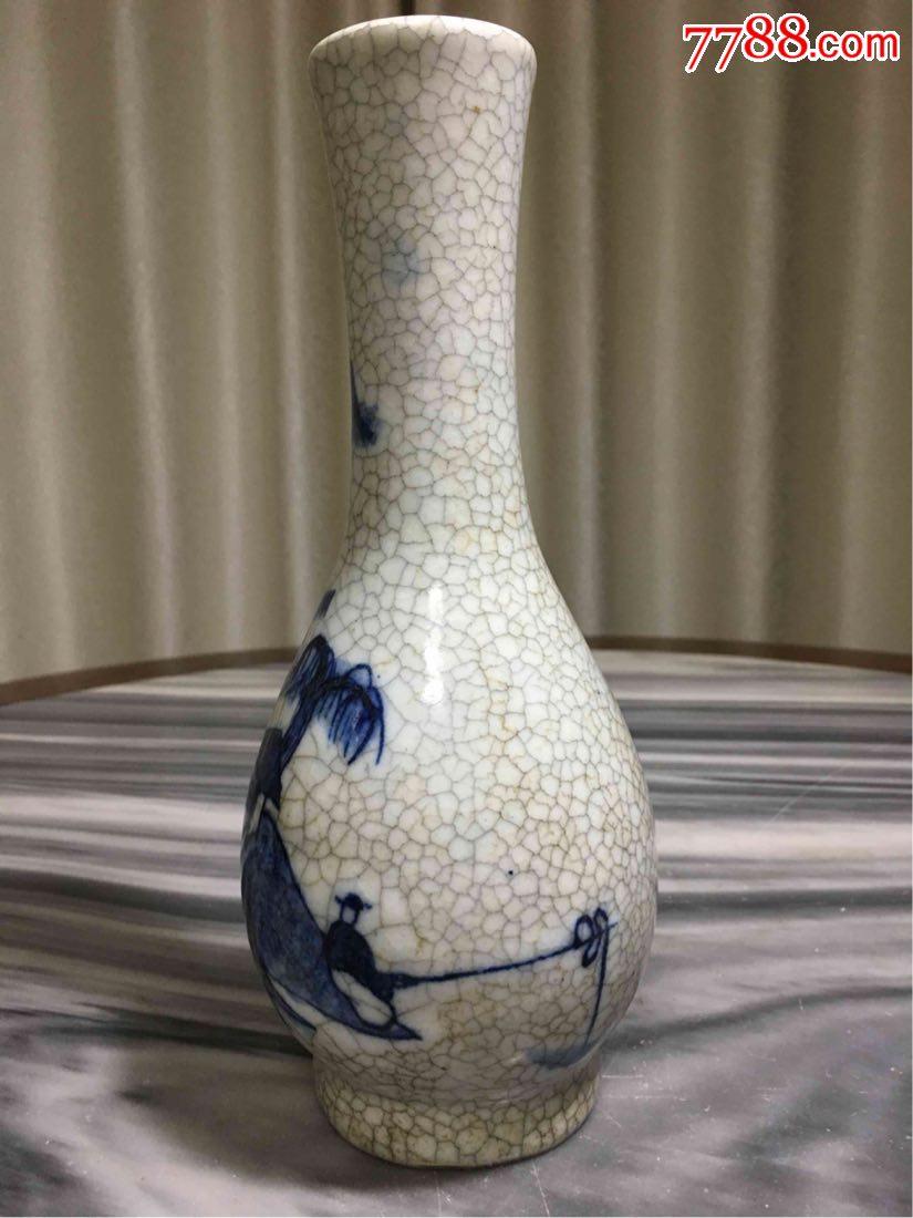 哥窑青花山水柳叶瓶图片