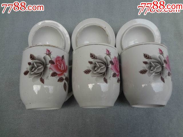粉彩花卉老瓷盖杯,3套合出_价格183元_第2张_