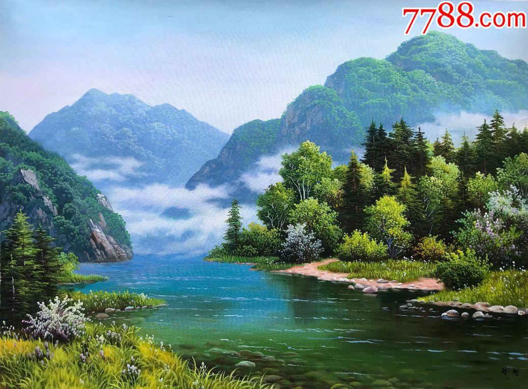 朝鲜纯手绘风景油画李贤哲春意92018年80x58cm图片