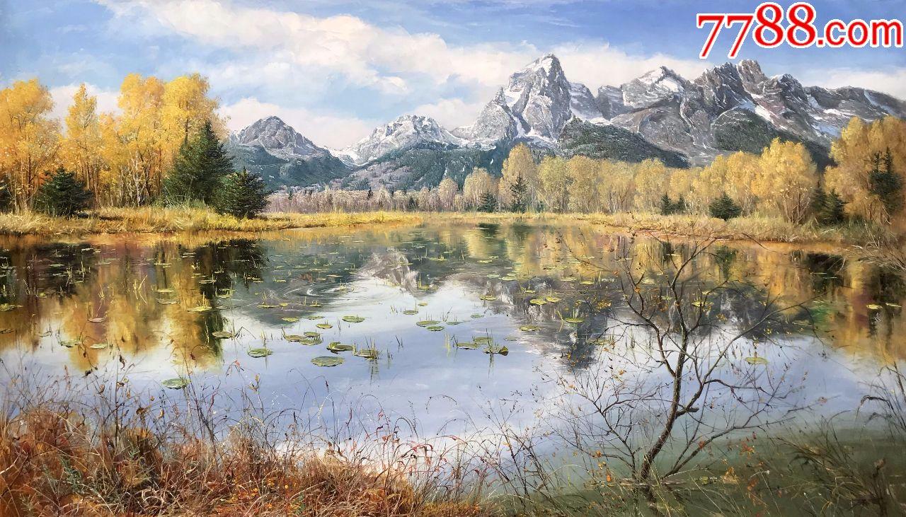 朝鲜纯手绘风景油画郑浩远山一景2018年160x94cm