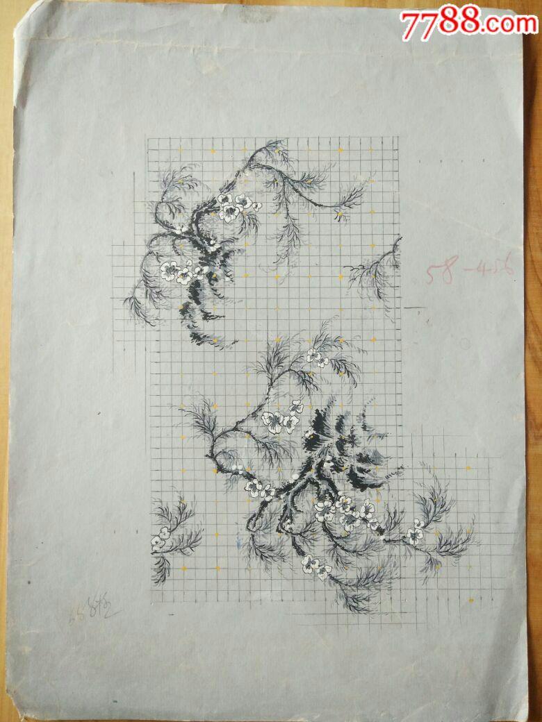 58年杭州胜利丝织厂徐伯清设计翁鸣皋小样手绘纹花
