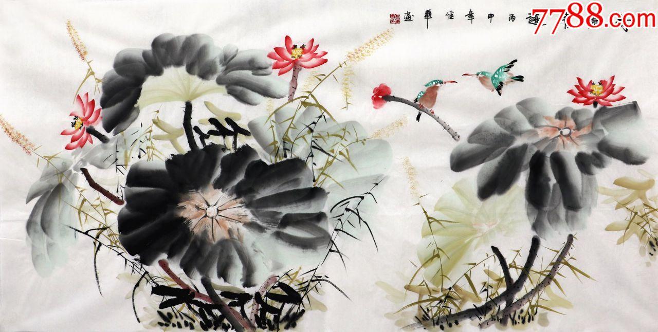何佳华原稿真迹手绘国画花鸟字画收藏四尺写意荷花图图片