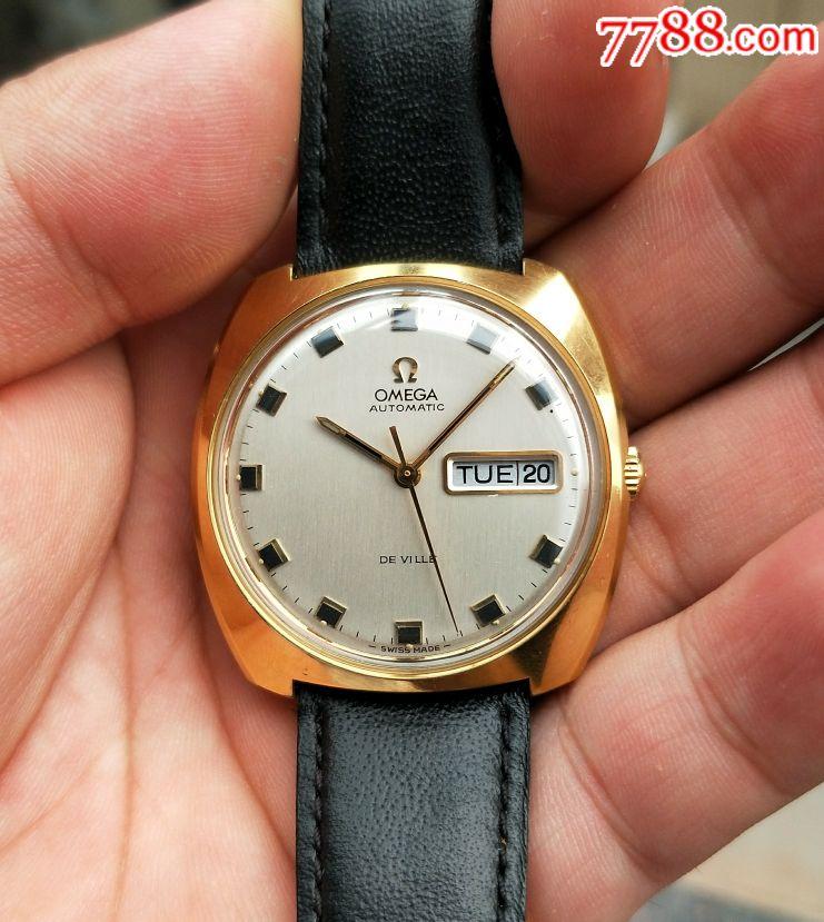 二手手表:瑞士古董欧米茄包金752双日历自动机械表图片