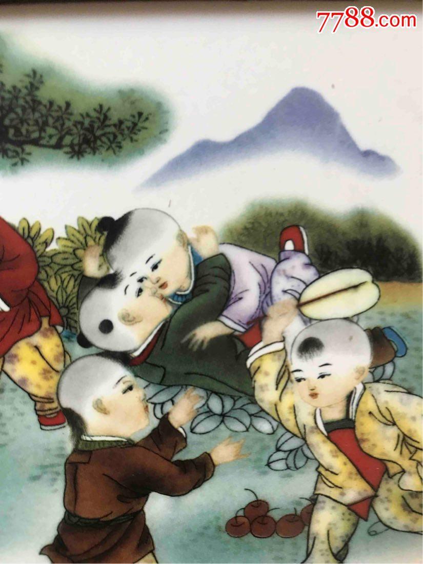 老瓷板画十六童子贺春