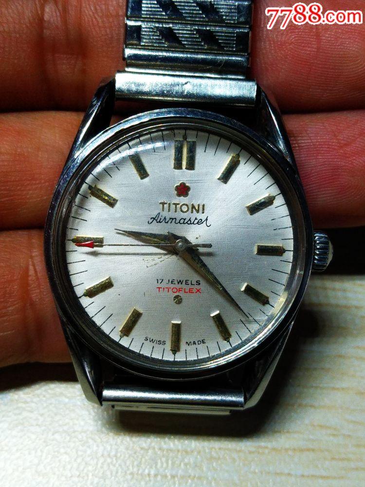 老古董老表收藏titoni瑞士梅花2801机芯男式机械手表腕表不走时图片