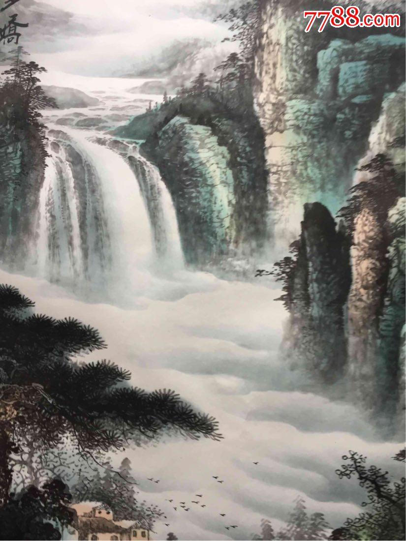 壁纸 风景 国画 旅游 瀑布 山水 桌面 825_1100 竖版 竖屏 手机