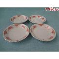 七十年代中国景德镇MADEINCHINA粉彩红釉老瓷碟四只,纹饰非常精美