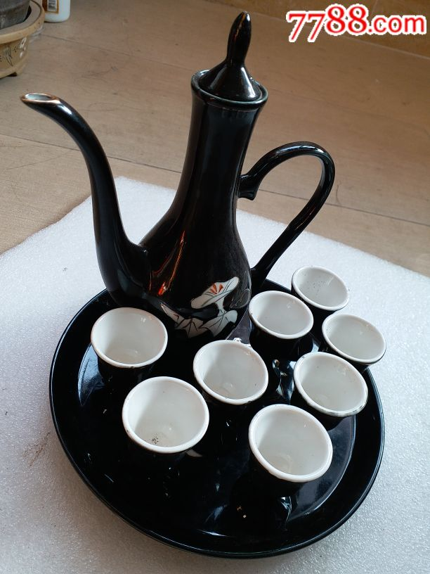 黑釉瓷壶杯无磕碰一起拍,山东博山东方红陶瓷厂(au19049591)_