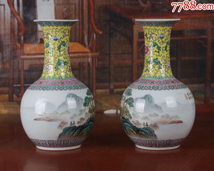景德镇陶瓷/全手工彩绘山水风景图法口天球瓶一对