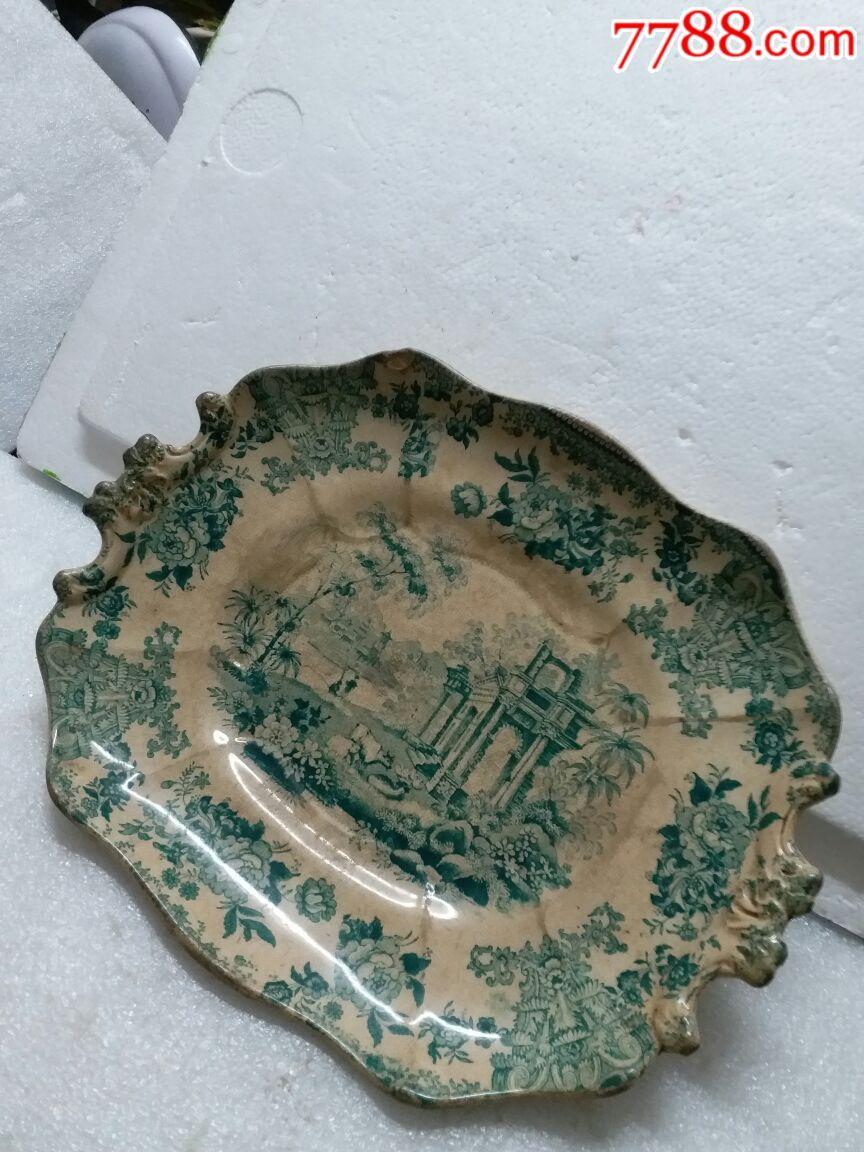 青花瓷盘子,古希腊青花瓷人物盘有磕碰,底带英文款(au19380114)_