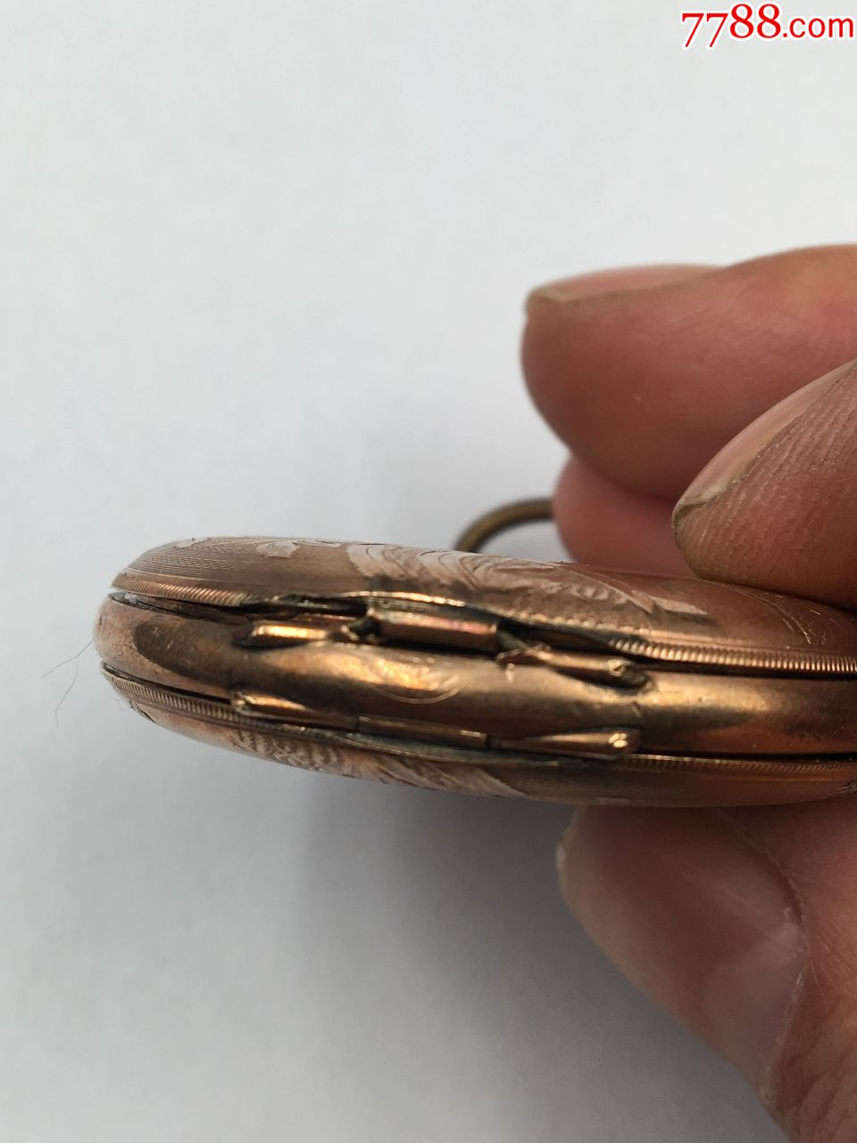 三开门雕花包金埃尔金古董老怀表正常走时直径47.5mm少表镜!_第8张_