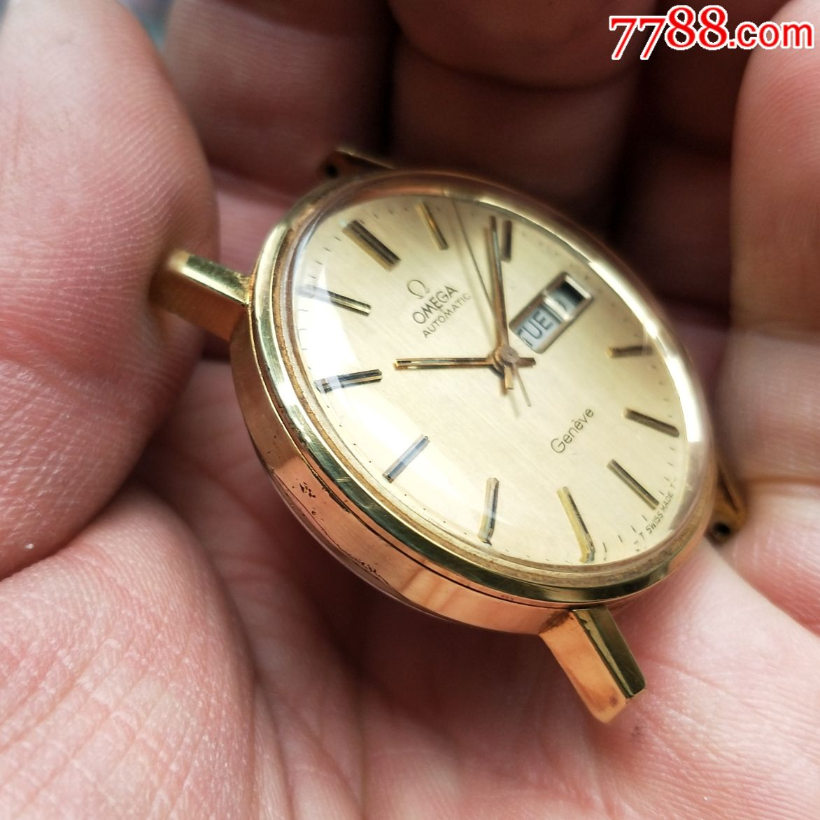 《特价处理》二手表:瑞士古董欧米茄1020双日历包金自动机械图片