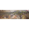 少见双拼布面风景老油画-山野民居,带?#23616;?#20869;框,有画家签名