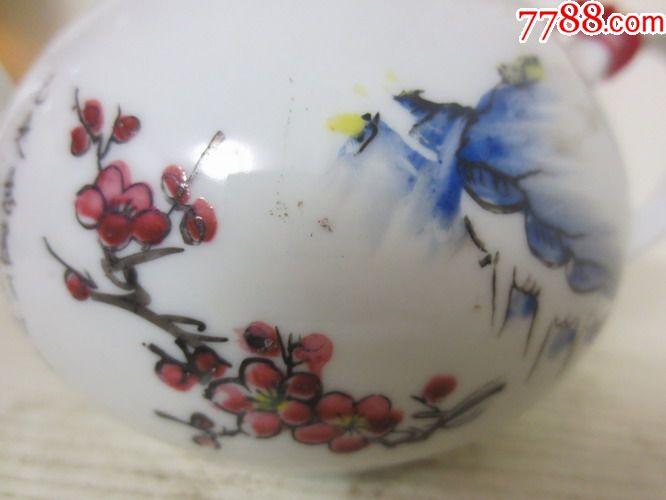 早期精美陶瓷梅花风景图案老茶壶一把【无磕碰】