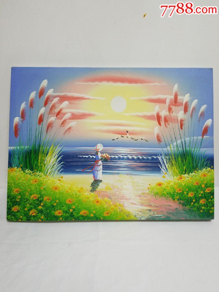 风景人物油画油墨画,画面唯美,带木框