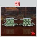 出口瓷粉彩茶具杯碟咖啡具一对(au20193606)_7788收藏__收藏热线