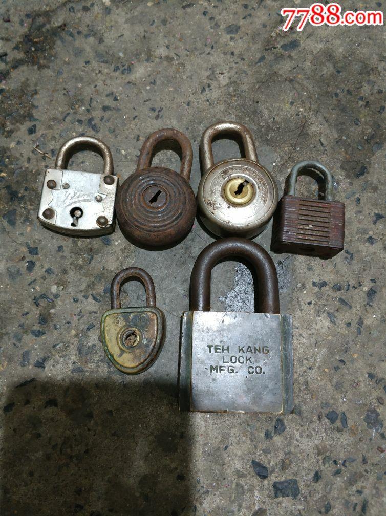 二个铜锁。四个铁锁。无钥匙。(au20287264)_