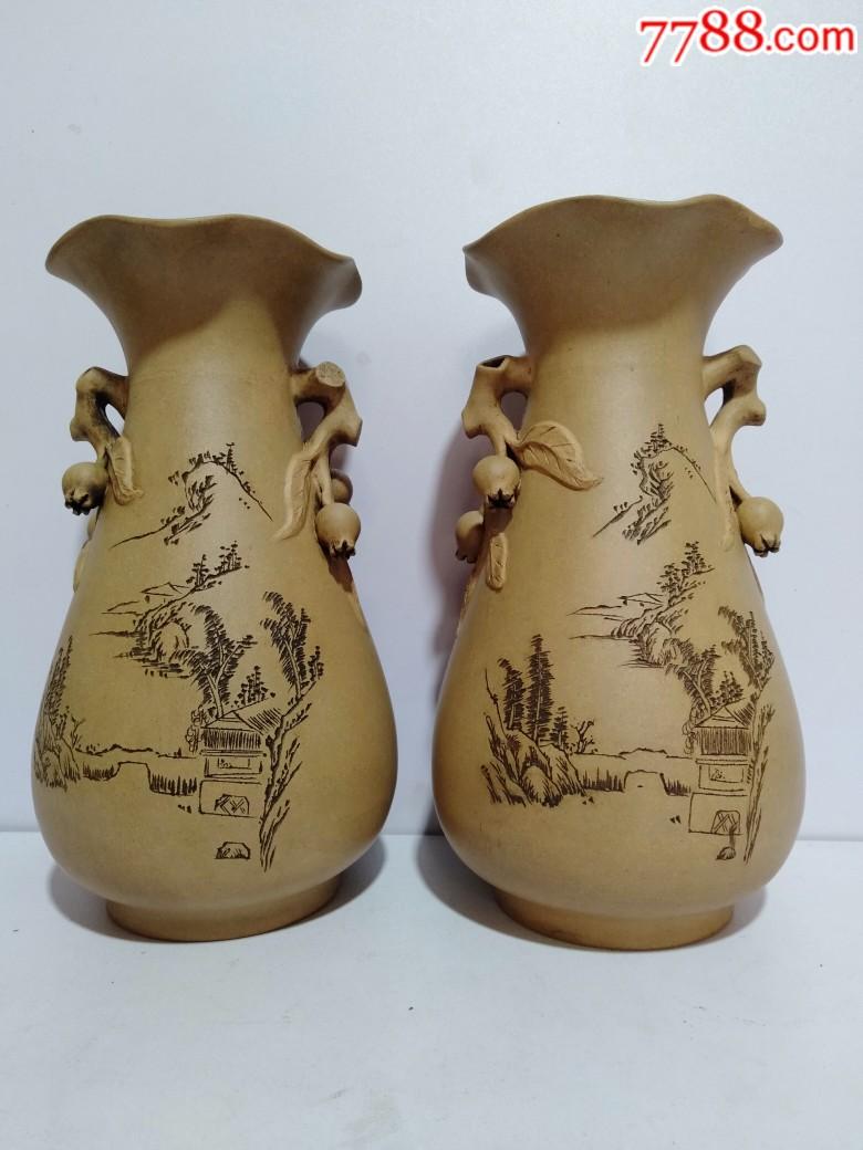 辛酉年1981年紫砂花瓶一对(品好)_价格810元_第1张_