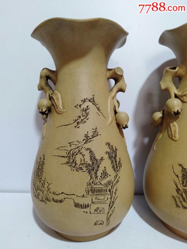 辛酉年1981年紫砂花瓶一对(品好)_价格810元_第3张_