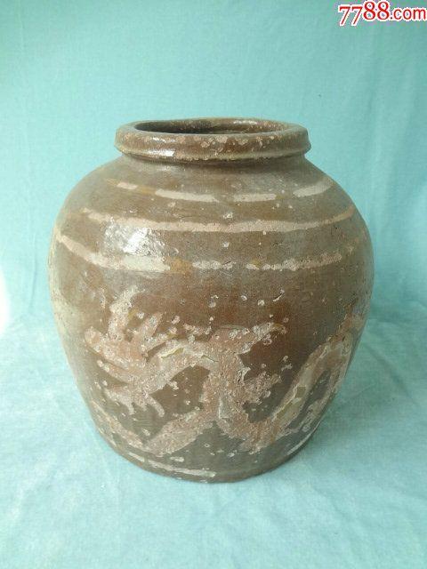 龙凤呈祥老瓷罐,非常有特色的一只老瓷器,龙凤纹饰很有看点,包老_价格308元_第1张_
