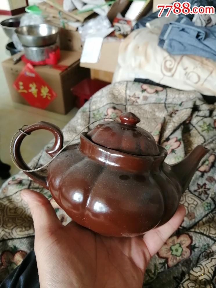 紫砂挂釉南瓜茶壶一把(au20966598)_