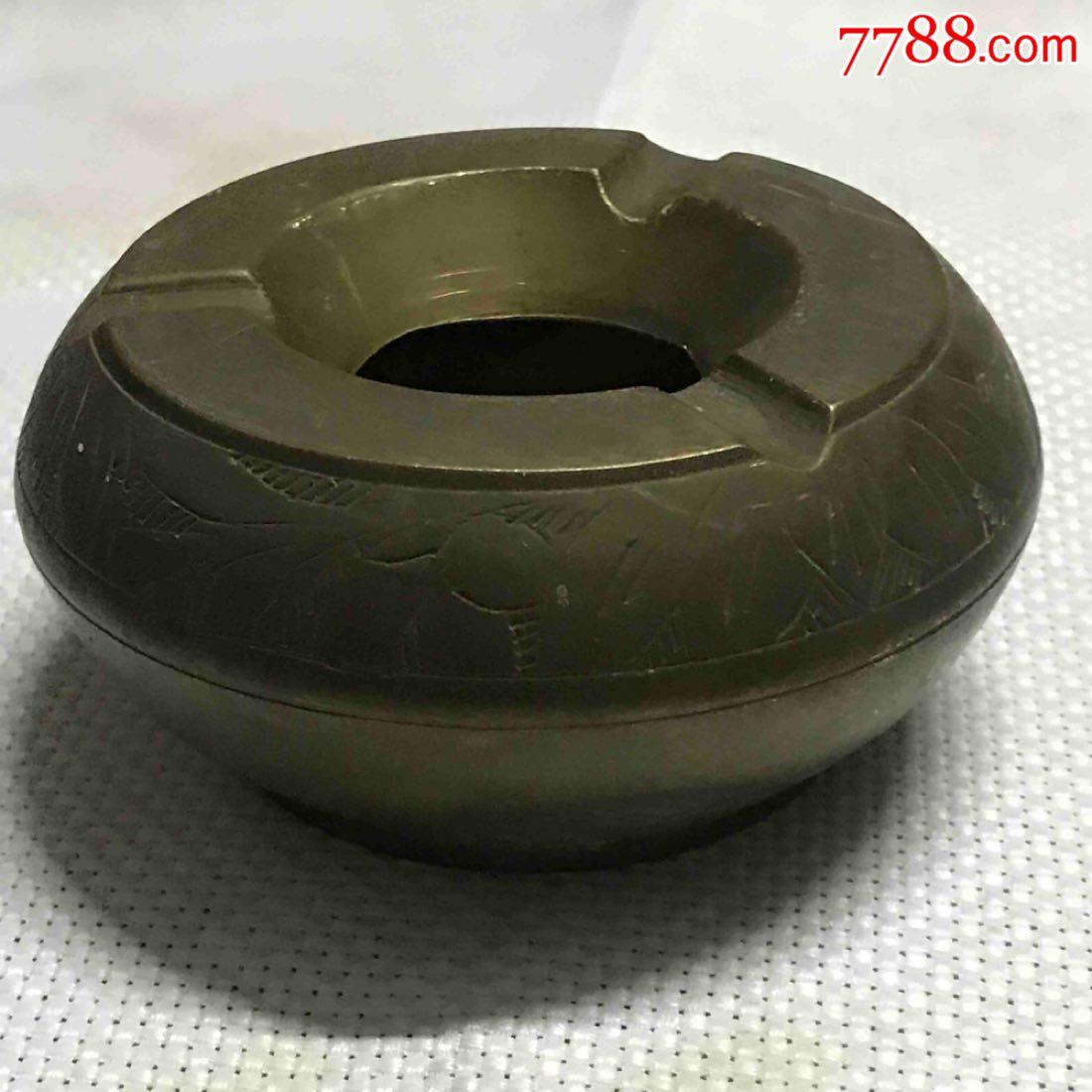 铜杂件烟缸带工铜黄铜烟缸小众铜器摆件日用保真(zc21107468)_