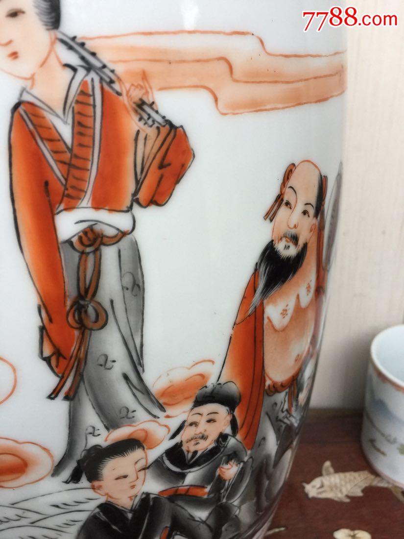 """60厘米高大(八仙過海(人物手繪""""描金""""粉彩花瓶_價格275元_第7張_"""