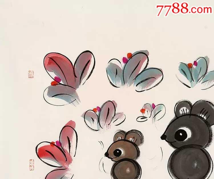 韩美林手绘十二生肖鼠图片