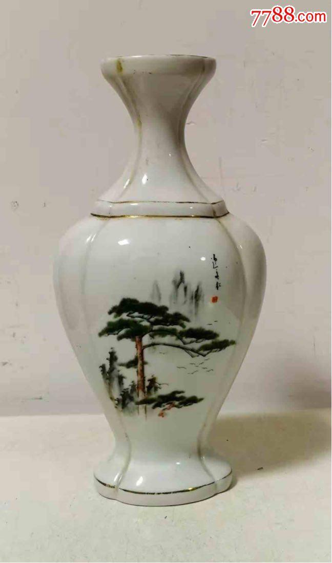 """少�70年代""""迎客松""""�D""""�t梅""""牌千山木塞白酒瓷酒瓶(au21600371)_"""
