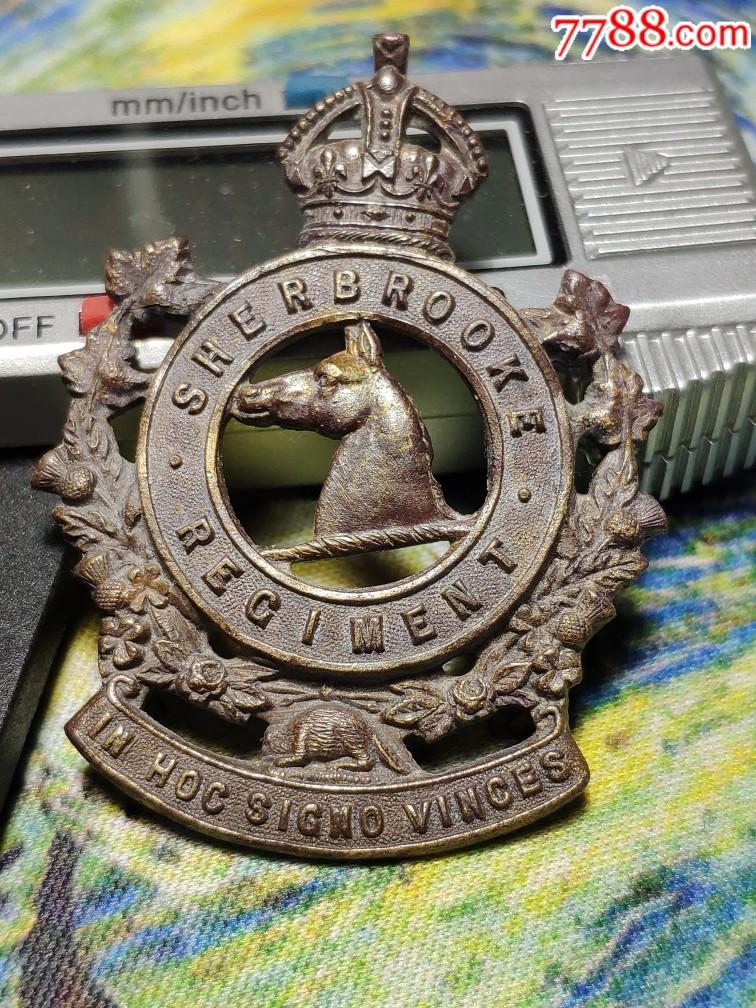 二战版英联邦加拿大陆军shebrooke团帽徽,男皇冠。(au21981500)_