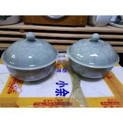 龍泉蓮花蓋碗一對全品-¥437 元_青瓷/秘色瓷_7788網
