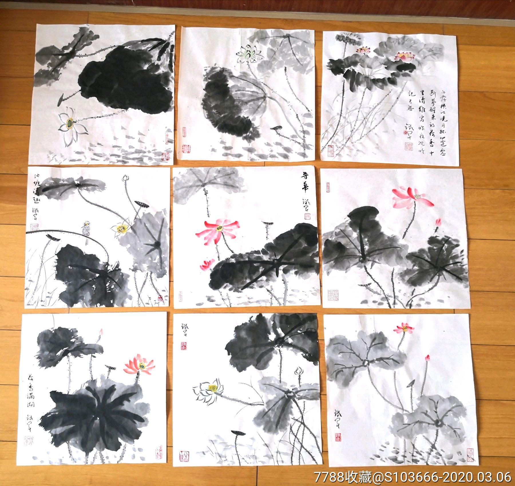 國畫原作,荷花9幅,打包出售(zc22423733)_7788收藏__收藏熱線