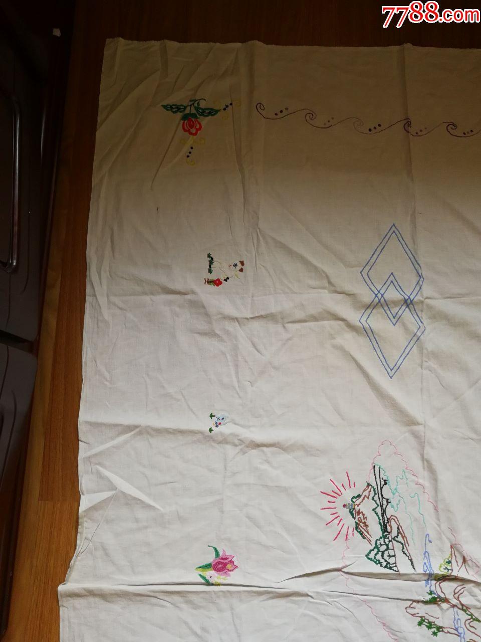 沙发罩布图片_宝岛延安小朋友和小动物图案手工刺绣桌布一个-价格:68.0000元 ...