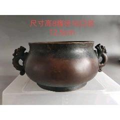 双龙耳铜香炉,纯手工打造,包浆浓厚,底部磨损自然。(zc23238110)_7788收藏__收藏热线