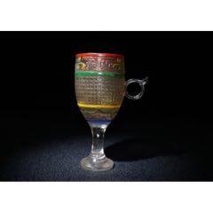 琉璃彩繪高酒杯,高13厘米,寬5.6厘米,重224克,(au25031108)_7788舊貨商城__七七八八商品交易平臺(7788.com)