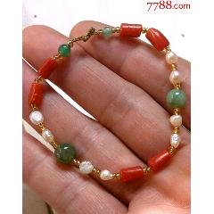 香港回流。天然珊瑚手鏈。兩個珠子是天然翡翠的,。(au25141096)_7788舊貨商城__七七八八商品交易平臺(7788.com)