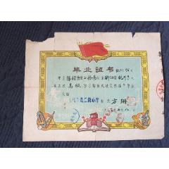 罕见。1963年杭州教仁街小学毕业证书。教仁街小学是杭州邮电路小学前身。