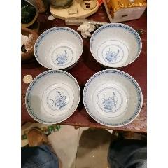 4只全品青花玲瓏瓷小碗,包真