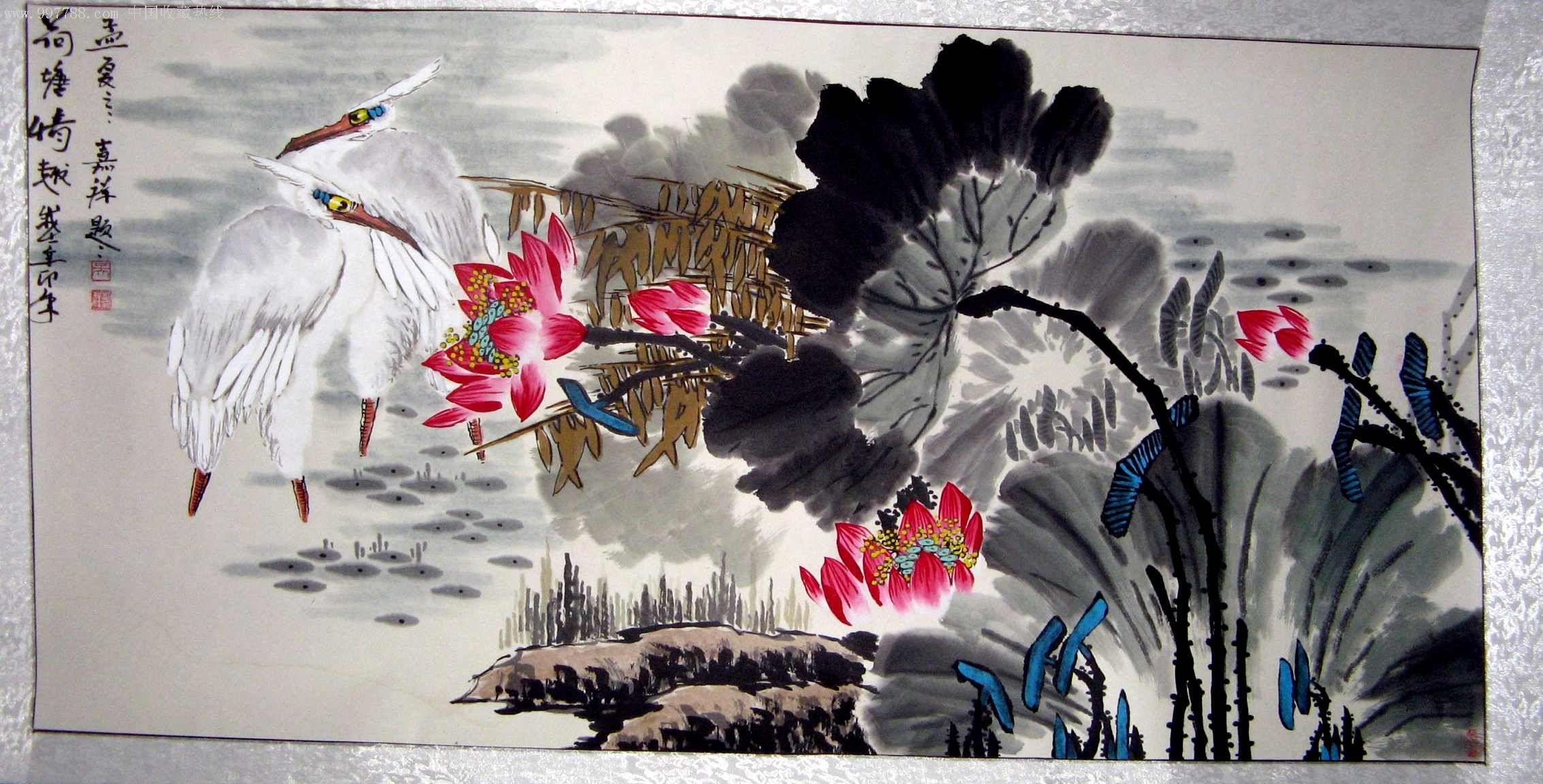 山东著名画家,国家一级美术师四尺花卉视频荷塘画《情趣情趣》已装裱横幅教程精品被女友调教图片