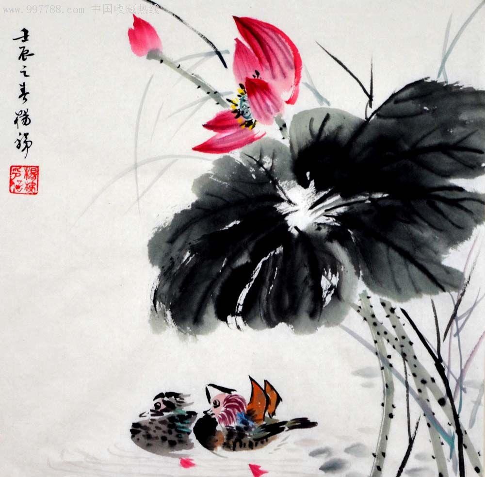 国画-荷花鸳鸯小品--12-0414-05_第1张图片