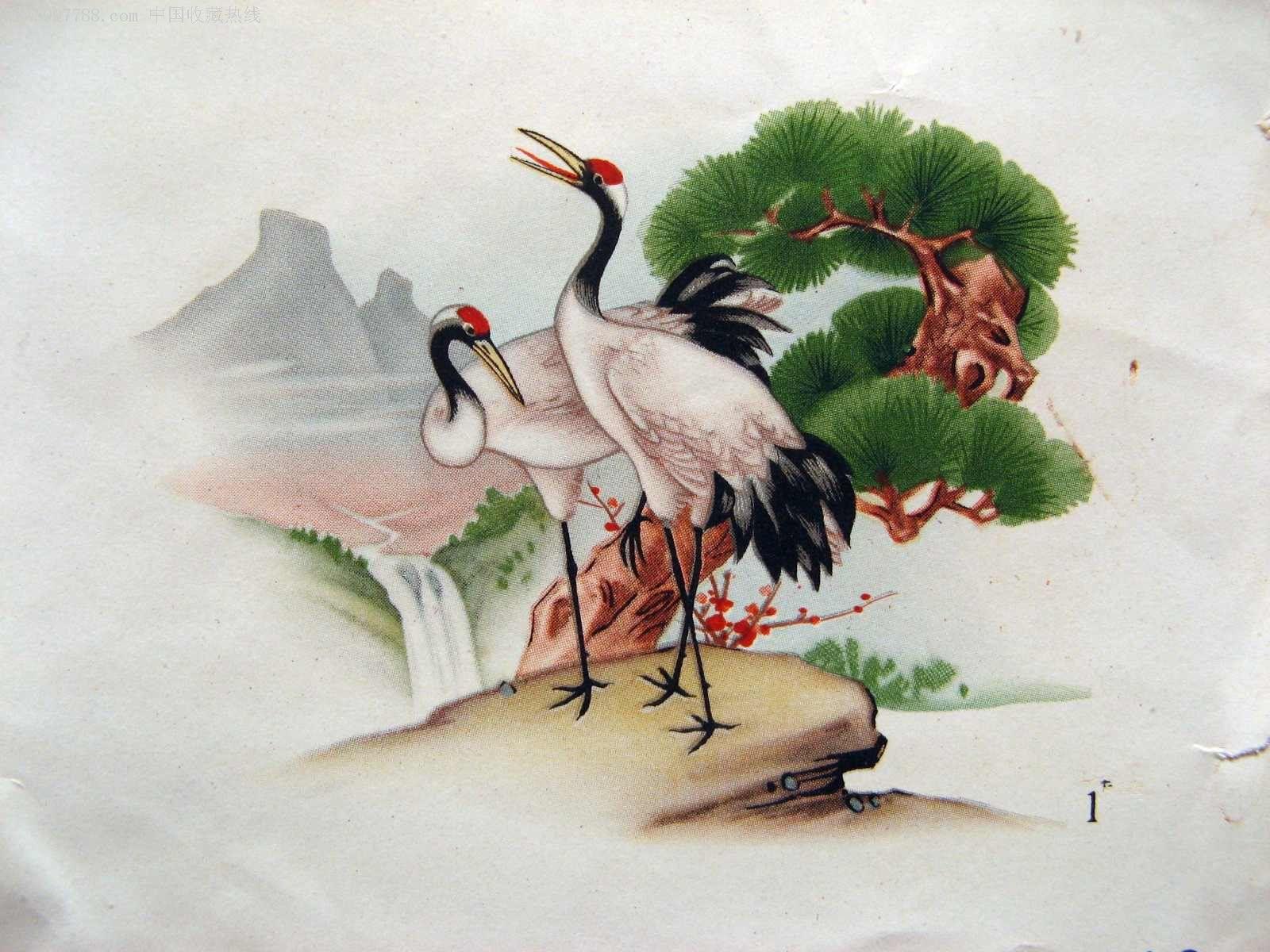 美术公司流出的工艺美术印刷样画-松鹤鹿2种图片