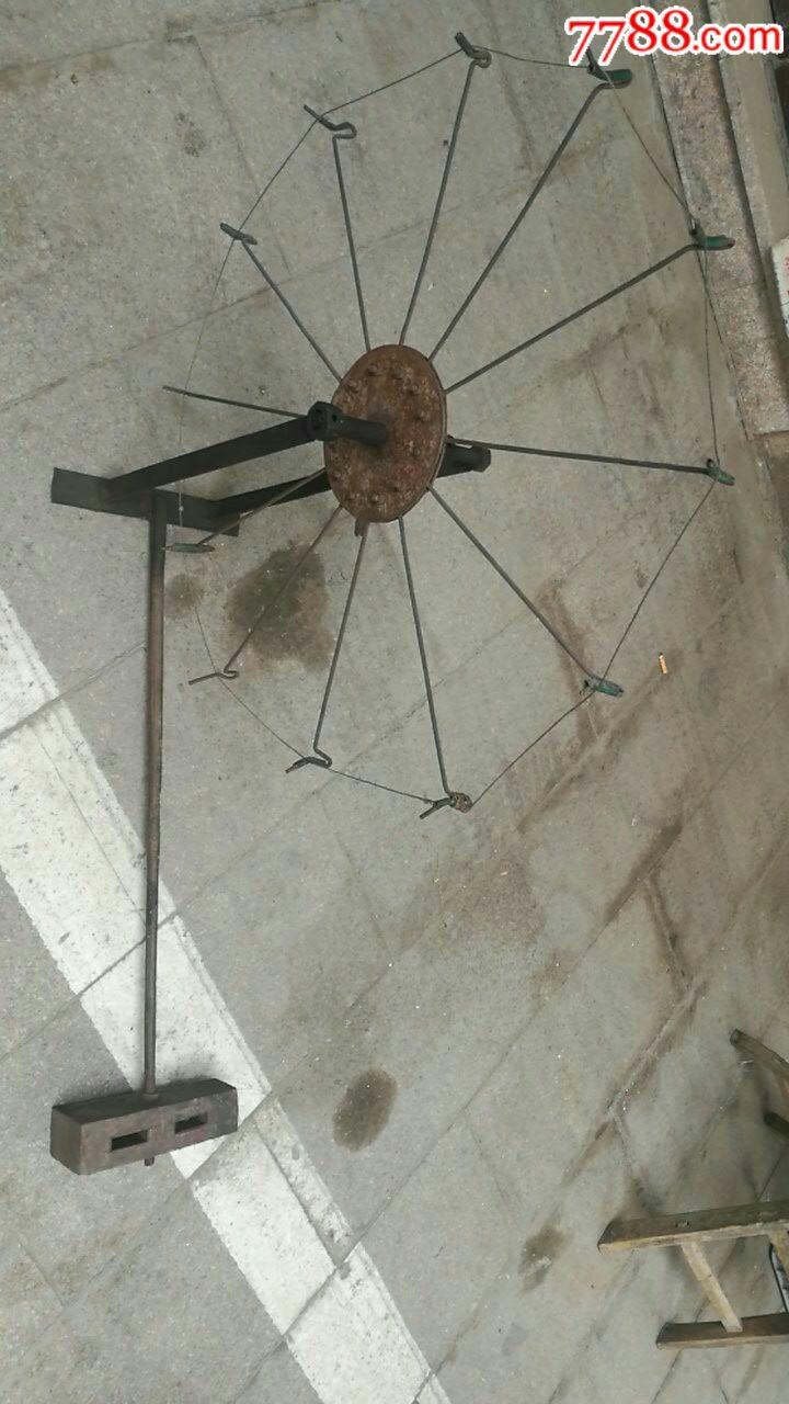 文革时期;能人自制纺花车铁质(很少见)图片