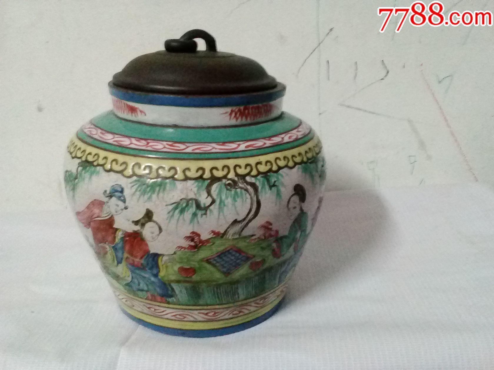 清代名家王南林釉彩人物花卉图案紫砂茶叶罐图片