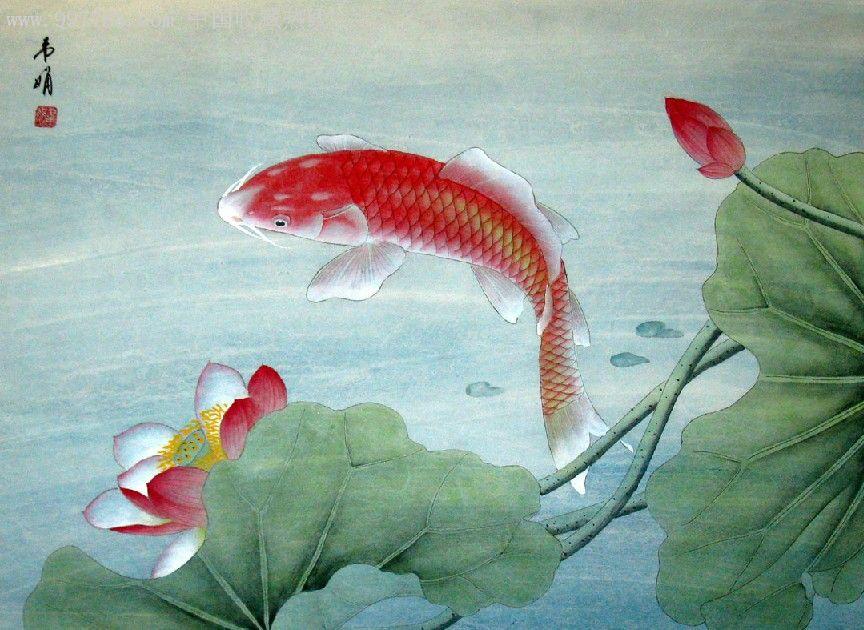 韦娟·四尺斗方工笔花鸟·荷花鱼