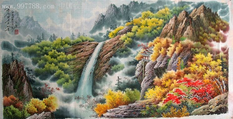朝鲜清津山水画独具特色的朝鲜民族绘画艺术图片
