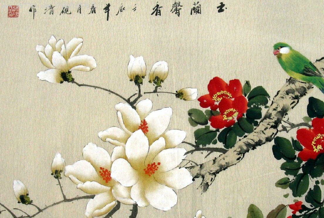 莫砚清·国画·花鸟三尺·玉兰馨香图片