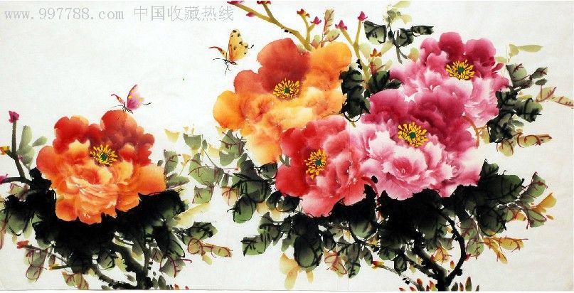 中国画牡丹花_萧子贤三尺中国画牡丹花