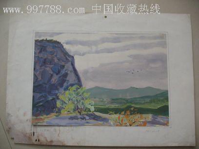 70年代大海风景水粉画(作者不详)